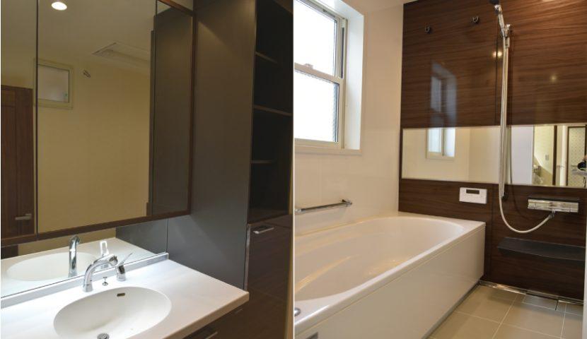 部屋干しができるリネン庫付洗面室・ホーロー壁+サウンドバスの浴室