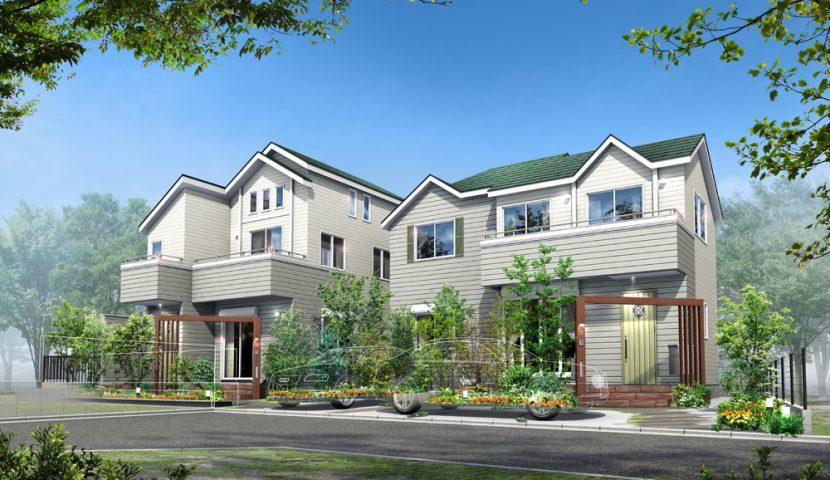 木質調のゲートやテラスタイルと植栽の緑が映える2邸宅