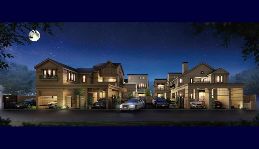夜間も美しくライトアップされる建物外観・外構・照明計画。