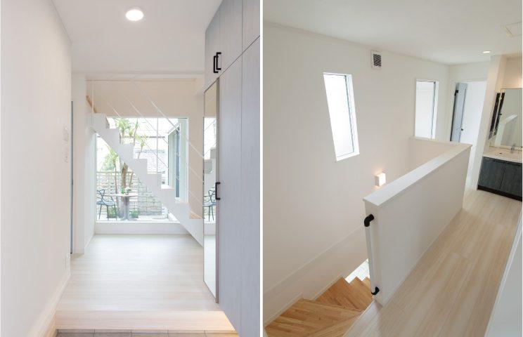 玄関に入ると正面に鉄骨階段+FIXガラス 2階のホールも明るく開放的