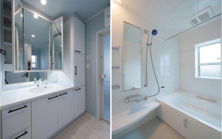 洗面室にはリネン庫、浴室にはワイド浴槽採用で快適な水回り